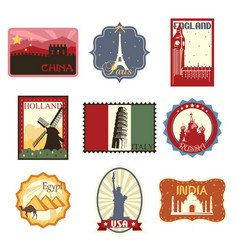 travel labels or badges vector image