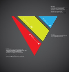 Triangle template consists of three color parts on vector image