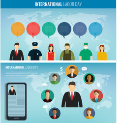 Two banners with people different occupations vector