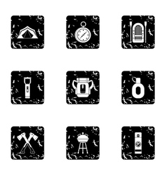 Vacation in forest icons set grunge style vector image