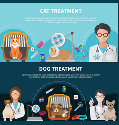 Veterinary treatment banners vector