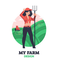 woman farmer with hayfork vector image