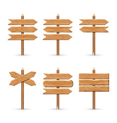 Wooden arrow signs board set wood vector