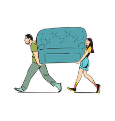 Young couple carrying sofa icon vector