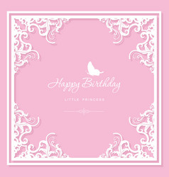 elegant decorative frame birthday greeting card vector image
