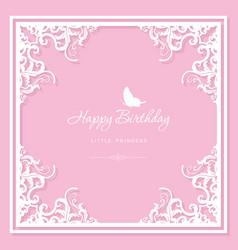 elegant decorative frame birthday greeting card vector image vector image