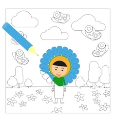 Kid in flower dress coloring page vector image