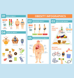 obesity weight loss and fat people health problems vector image