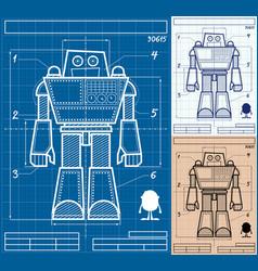 robot blueprint cartoon vector image vector image