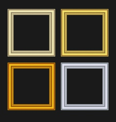 set picture frames isolated on black background - vector image vector image