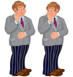 Happy cartoon man standing in striped pants vector image vector image
