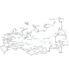 Russia Black White Map vector image vector image