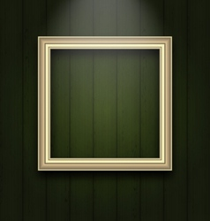 vintage picture frame on wooden wall - vector image
