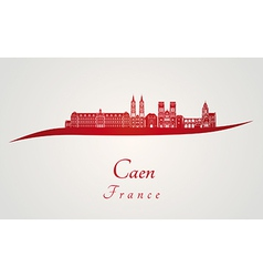 Caen skyline in red vector