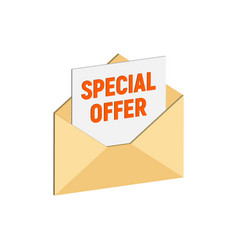 envelope with special offer email marketing vector image vector image