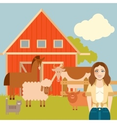 Farmer woman and animals banner vector image