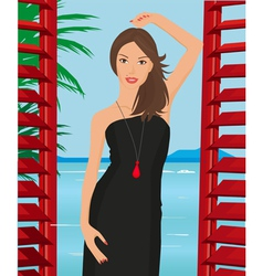 girl with black dress vector image vector image