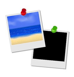 Photo frame with beach and empty photo frame vector image vector image
