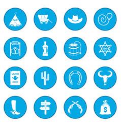 wild west cowboy icon blue vector image vector image