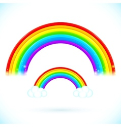 Bright isolated rainbows with clouds vector image vector image