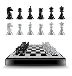 chess board with figures isolated on white vector image