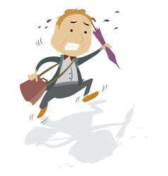 frantic man with a bag and umbrella vector image vector image
