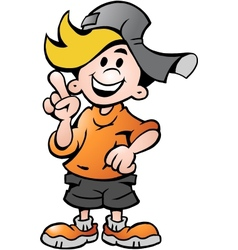 Hand-drawn of an happy School Boy Pointing vector image