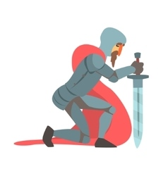 Knight With Red Cape And Sword Kneeling Fairy Tale vector image vector image