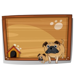 Two bulldogs beside a wooden board vector image vector image
