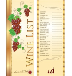 Wine list background vector image vector image