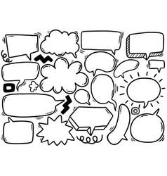 0120 hand drawn background set cute speech vector