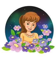 A girl surrounded by flowers vector image
