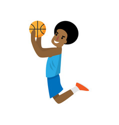 african player jump high to throw ball in basket vector image