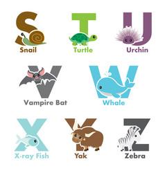 Alphabet animals vector