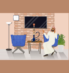 arab man talking on phone sitting in hookah lounge vector image