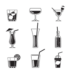 Assortment black cocktail icons vector