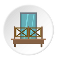 Balcony with wooden fence icon circle vector