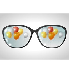 Balloons Glasses Reflection vector image