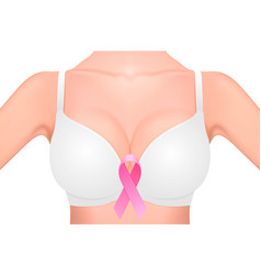 Beautiful realistic female breast in a white with vector