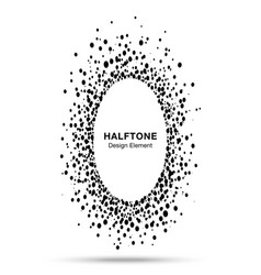 black abstract oval circle halftone dots frame vector image