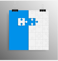 Blue background puzzle jigsaw banner vector