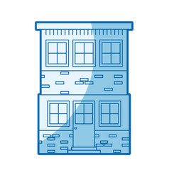 Blue shading silhouette house of two floors vector
