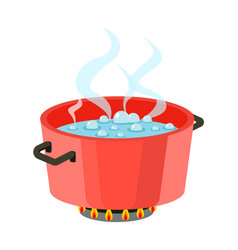 Boiling water in pan red cooking pot on stove vector