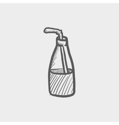 Bottle of milk with straw sketch icon vector image