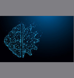 brain and gear cog form lines and particle vector image