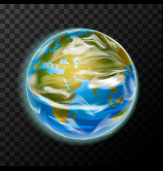 bright realistic earth planet with clouds vector image