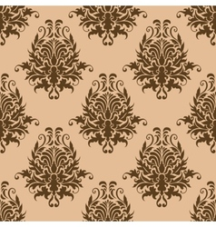 Brown pretty damask style seamless pattern vector image