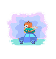 car with suitcases soccer ball and badminton vector image