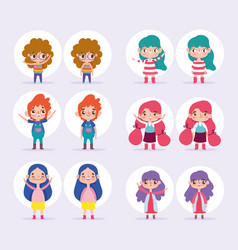cartoon character animation boy and girls various vector image