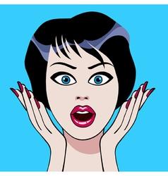 cartoon face surprises brunette woman vector image